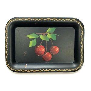 VTG Cherry Cherries Fruit Tole Toleware Tray